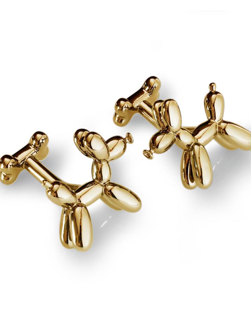 Balloon Dog Cufflinks, Yellow Gold - Base Metal, Yellow Gold Tone Plated