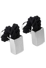 Rope Wrap Check Cufflinks, Black - Base Metal, Rhodium Plated, Rope