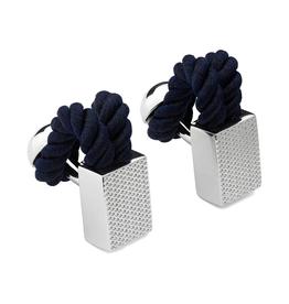 Rope Wrap Check Cufflinks, Navy - Base Metal, Rhodium Plated, Rope