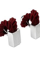 Rope Wrap Check Cufflinks, Wine - Base Metal, Rhodium Plated, Rope