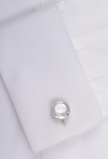 White Faceted Crystal in 925 Sterling Silver Cufflinks