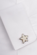 Starfish Hand-carved Mother of Pearl in 950 Sterling Silver Cufflinks