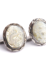 Hand carved Mother of Pearl Naga in 950 Sterling Silver Cufflinks