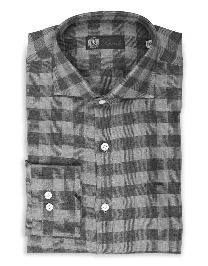 100%LI Soft Linen Twill Shirt, Handmade - P-11917