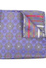 Silk Pocket Square Medallion brocade, Purple and Green
