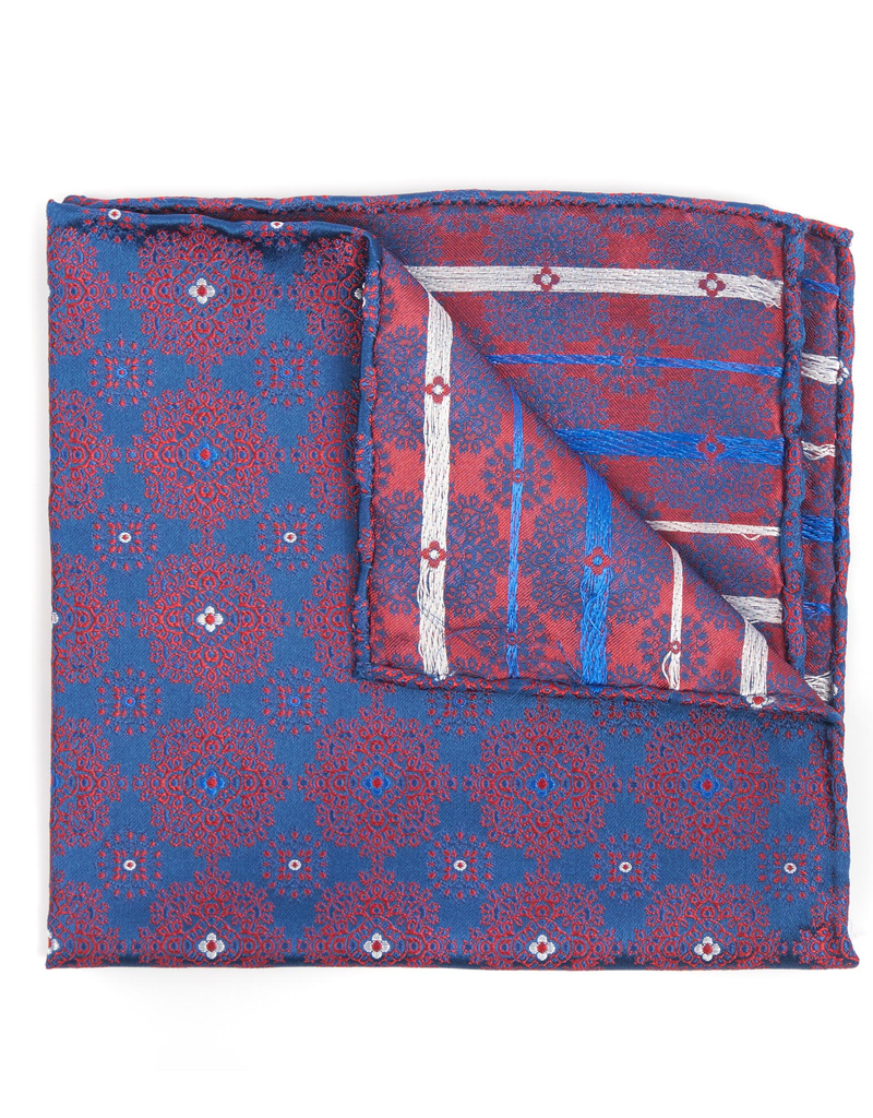 Silk Pocket Square Medallion brocade, Navy and Red