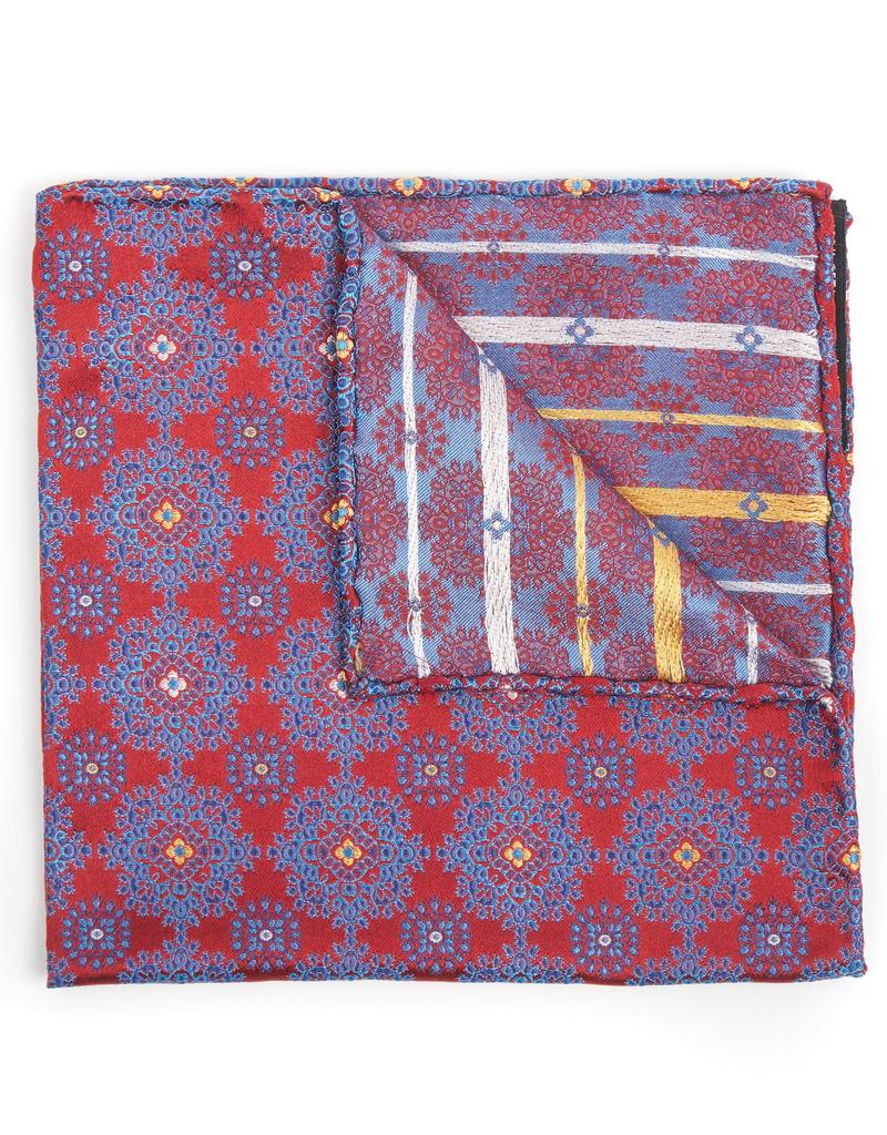 Silk Pocket Square Medallion brocade, Red and Navy