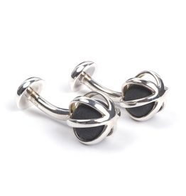 Lava Cage 925 Sterling Silver Cufflinks