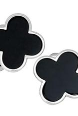 Sterling Silver Onyx Clover Cufflinks