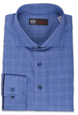 100% CO Plaid Shirt with Suede Piping and Convertible Cuff