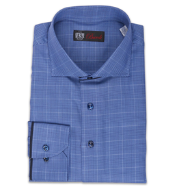 Plaid Cotton Shirt with Suede Piping and Convertible Cuff