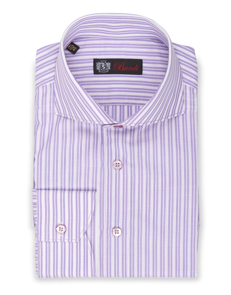 Cotton Shirt Woven Double Stripe, Cutaway Collar