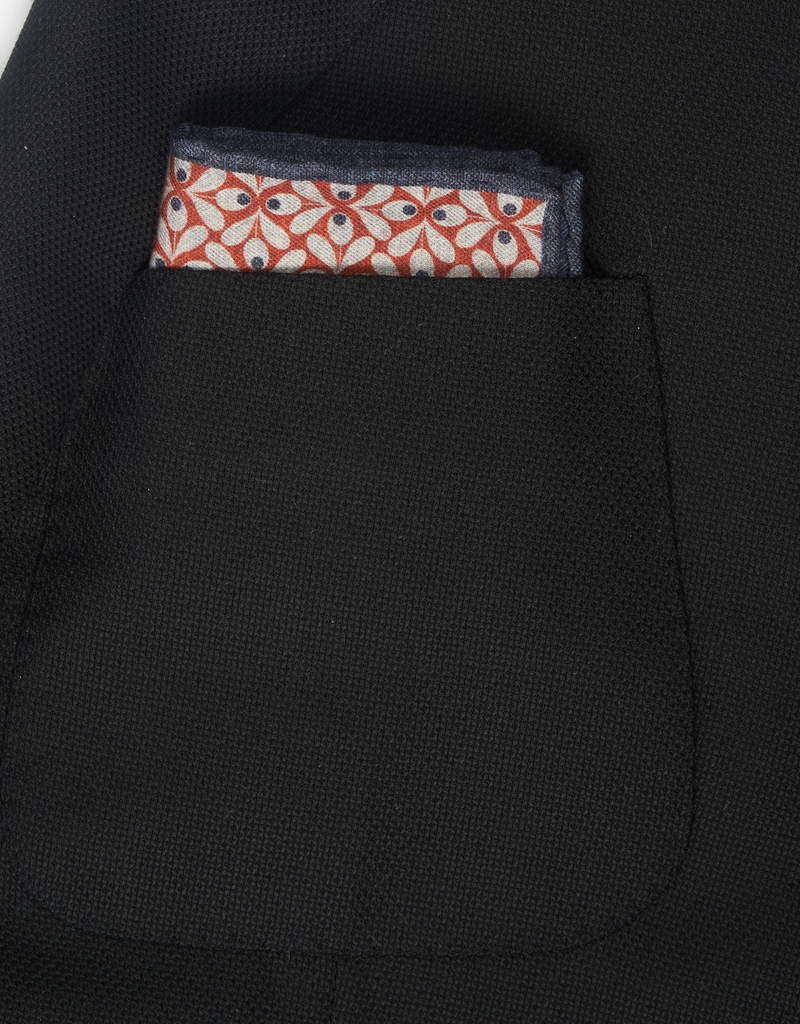 Printed Floral Pocket Square, Taupe and Rust