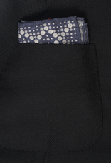 Printed Medallion Pocket Square, Navy & Gray