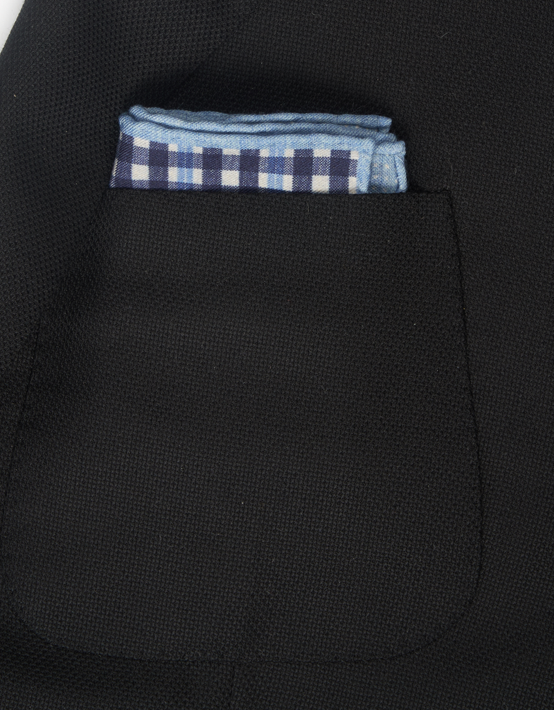Printed Check Pocket Square, Blue & Silver
