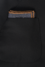 Printed Medallion Pocket Square, Navy & Brown