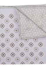 Printed Medallion Pocket Square, Lavender & Gray