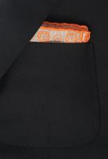 Printed Pocket Square, Taupe & Orange Medallions