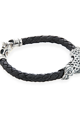 Braided Leather Bracelet with Koi Fish in 925 Sterling Silver