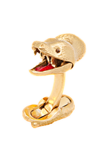 Snake Cufflinks in 18K Yellow Gold, Functional Mouth and Diamond Eyes