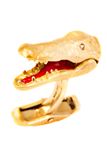 Crocodile Cufflinks 18K Yellow Gold with Functional Mouth and Diamond Eyes