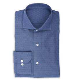 Chambray Shirt, woven diamond, Handmade