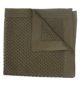 Silk Knit Pocket Square, Olive