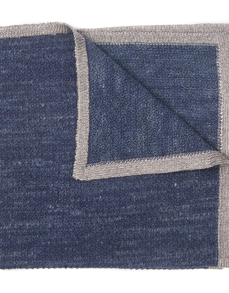 Knit Pocket Square with Border, Navy & Gray