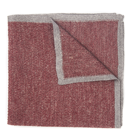 Knit Pocket Square with Border, Wine & Gray