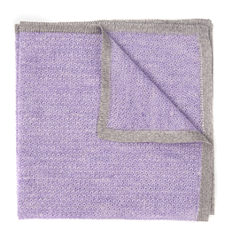 Knit Pocket Square with Border, Lilac & Gray