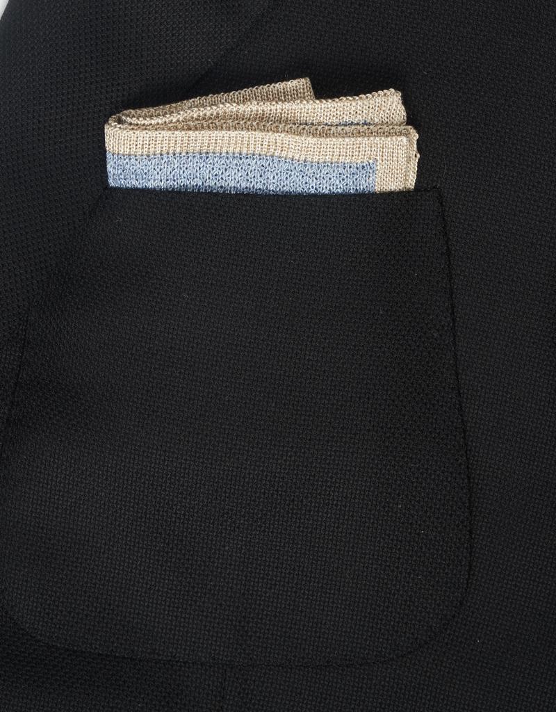 Knit Pocket Square with Border, Light Blue & Platinum