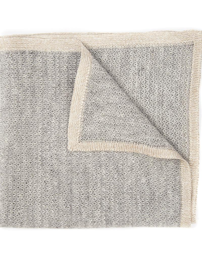 Knit Pocket Square with Border, Light Gray & Platinum