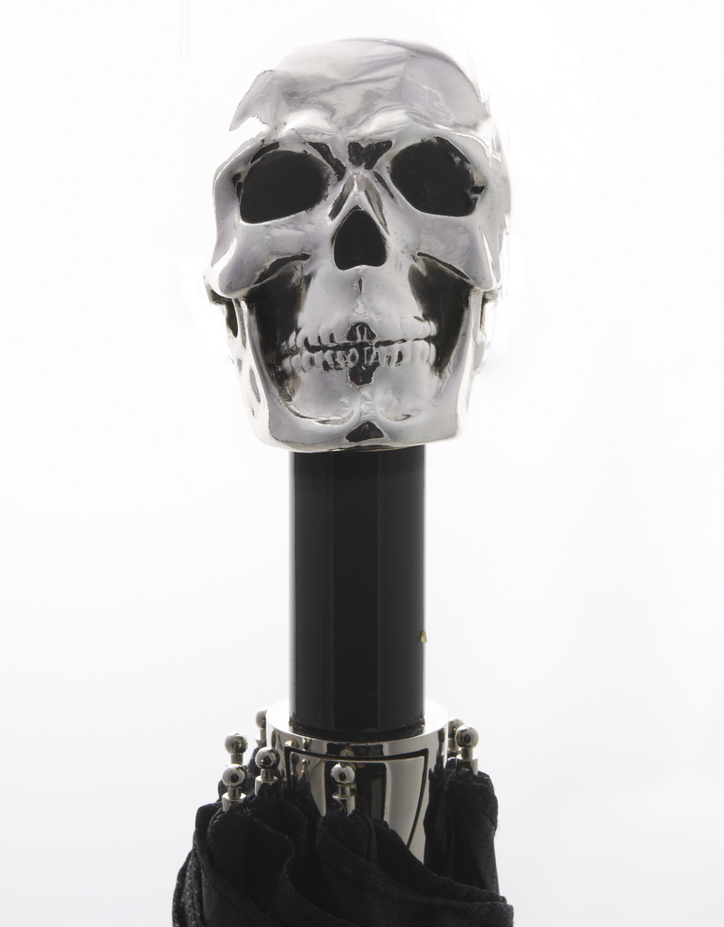 Black Compact Umbrella with Skull Handle