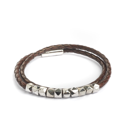 Tat Silver and Leather Braided Bracelet Double Wrap