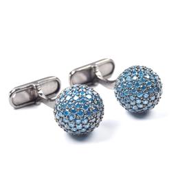 Bronze gem encrusted cufflinks Aquamarine Rhodium plated