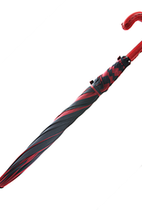 Red and Black Striped Umbrella with Red Leather Handle and Black Hand Stitching