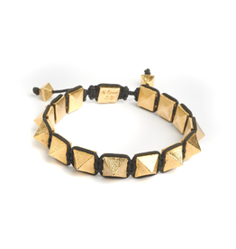 Pyramids on macula cord with adjustable closure bracelet