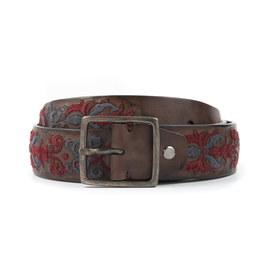 Embroidered Hand-dyed Vacchetta Leather Belt