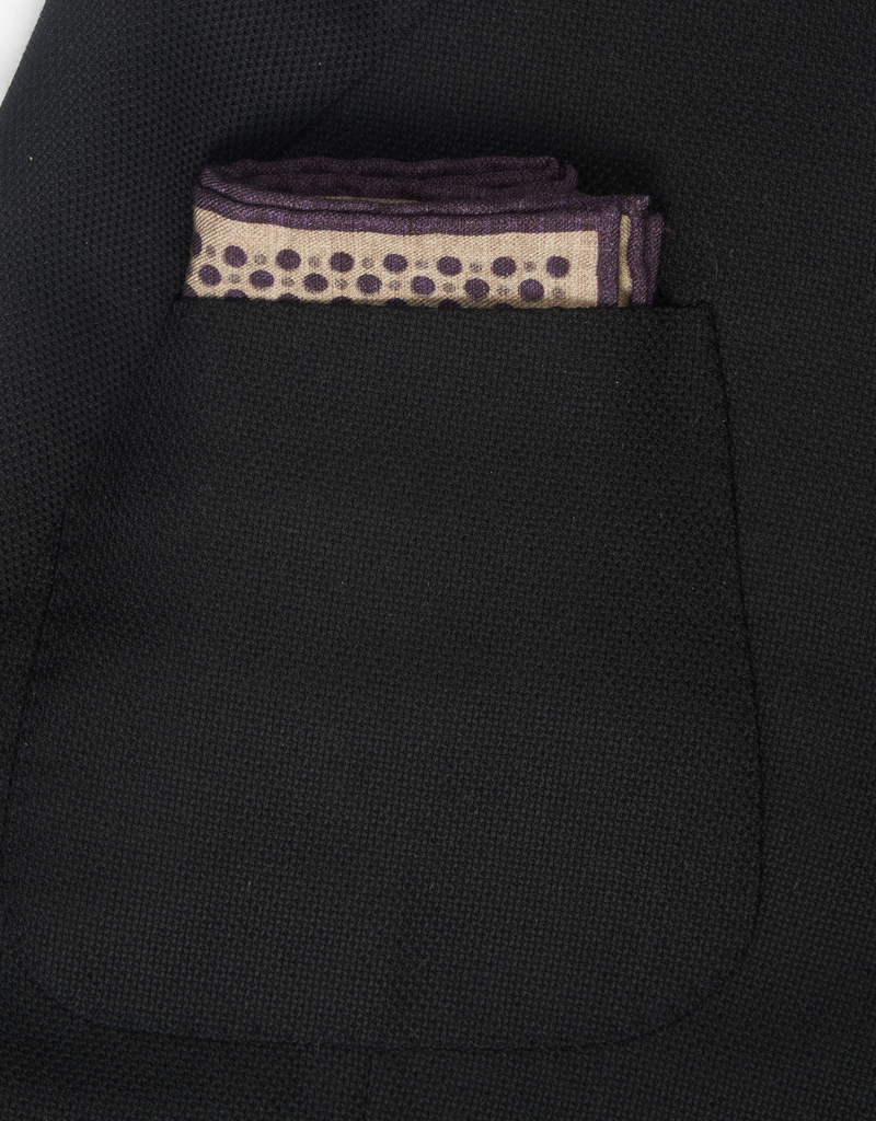 Printed Circles Pocket Square, Taupe & Purple