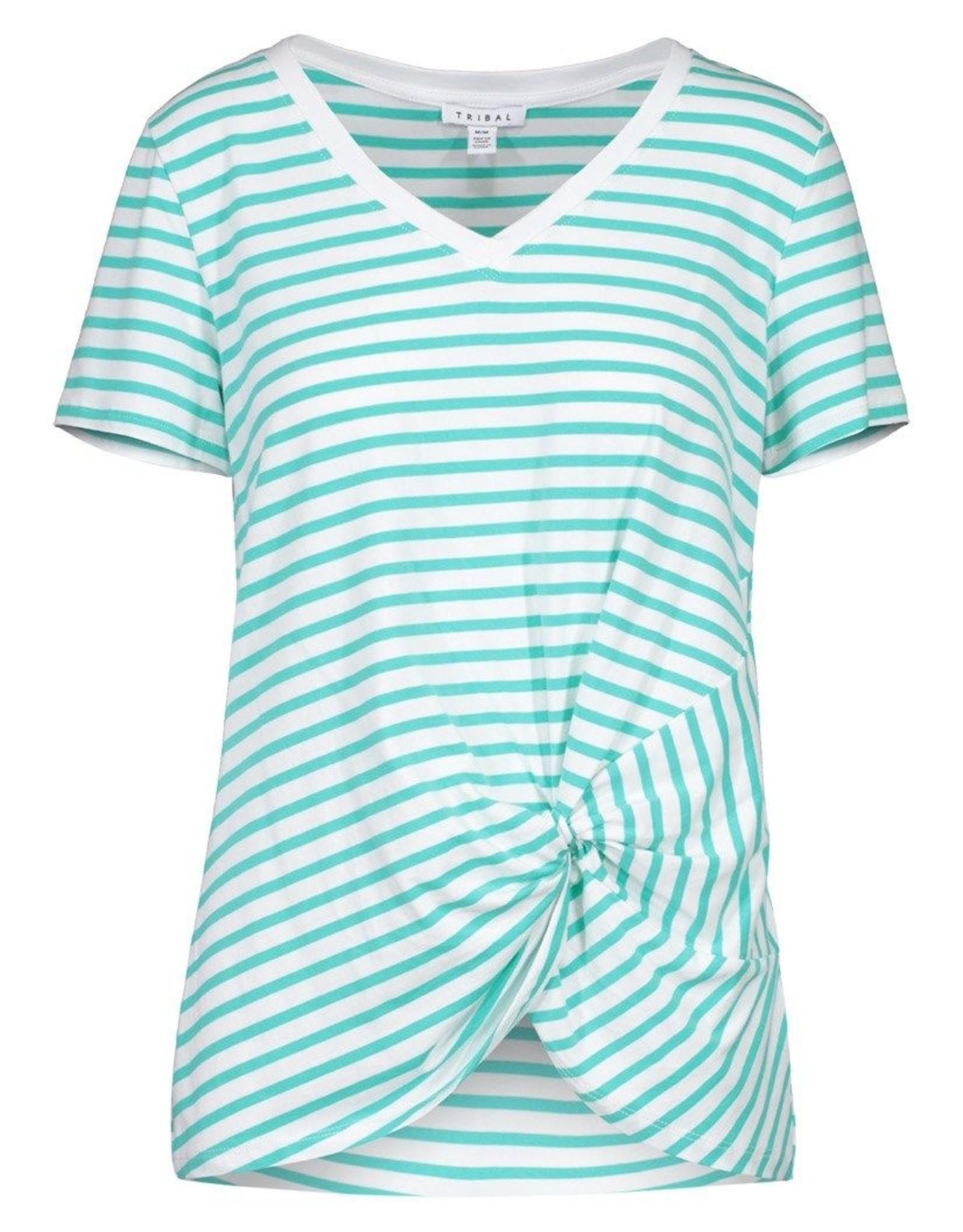 Tribal Tribal 3829O Short Sleeve V Neck Top with Knot