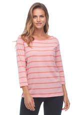 French Dressing Jeans FDJ 1295262 Fancy Neckline Sporty Stripe  3/4 Sleeve Top