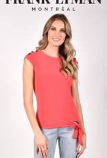 Frank Lyman Frank Lyman 211026 Cap Sleeve Top with Round Neck and Off Centered Tie at Waist