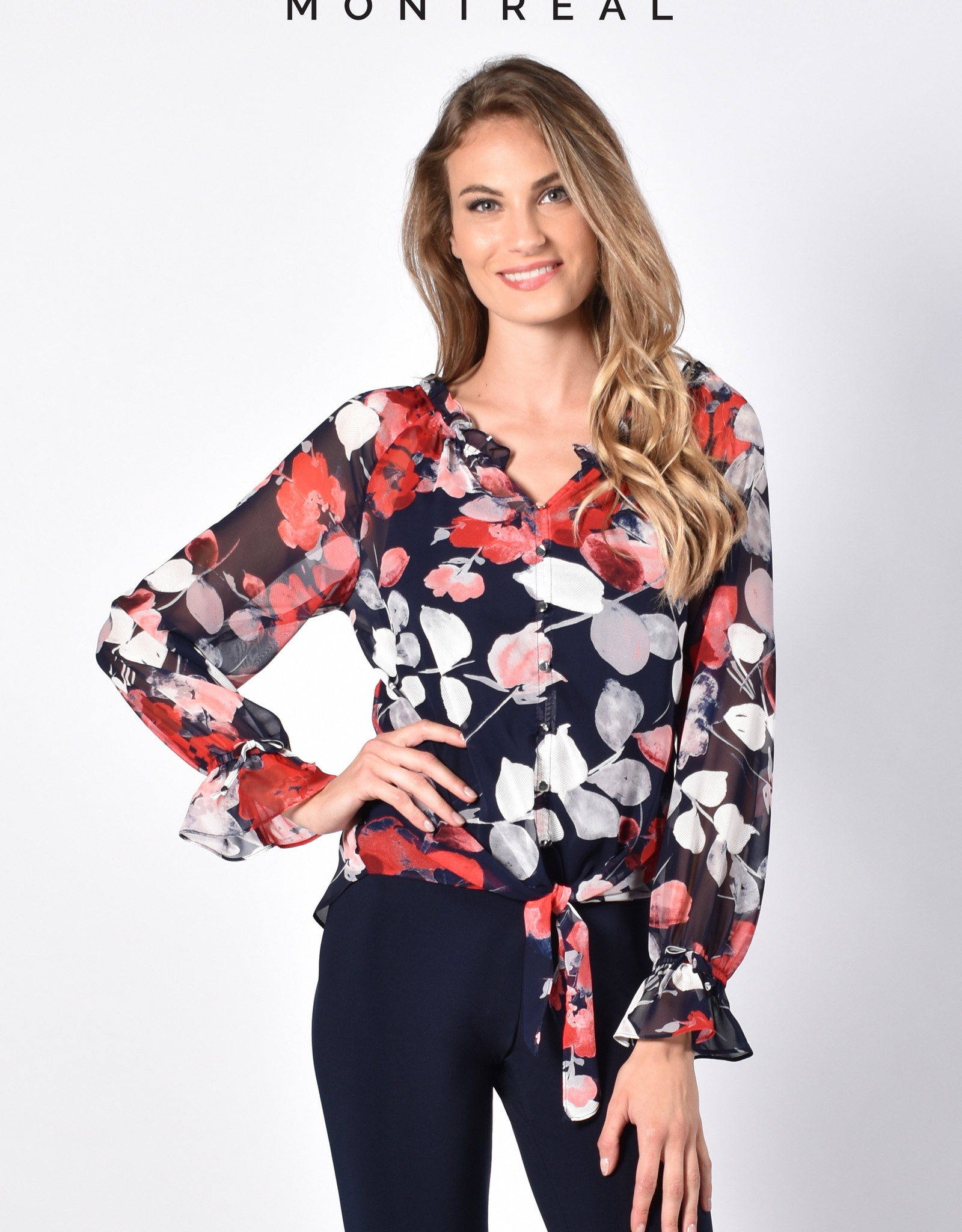 Frank Lyman Frank Lyman 216497 Long Sleeve Sheer Floral Top with a Solid Under Tank