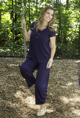 Pure Essence Pure 210-2338 Bamboo Pull On Wide Leg Capri with Synched Detail on the Leg