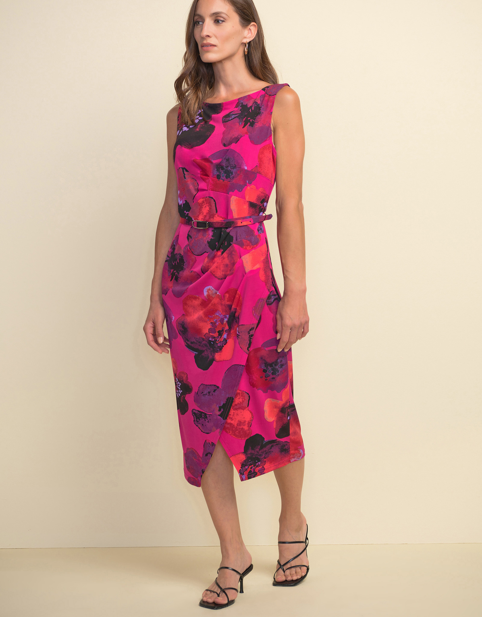 Joseph Ribkoff Joseph Ribkoff  211351 Sleeveless Dress with a Floral Pattern and Belt