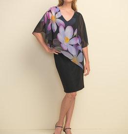 Joseph Ribkoff Joseph Ribkoff 211408 Black Dress with 3/4 Sleeve Floral Overlay