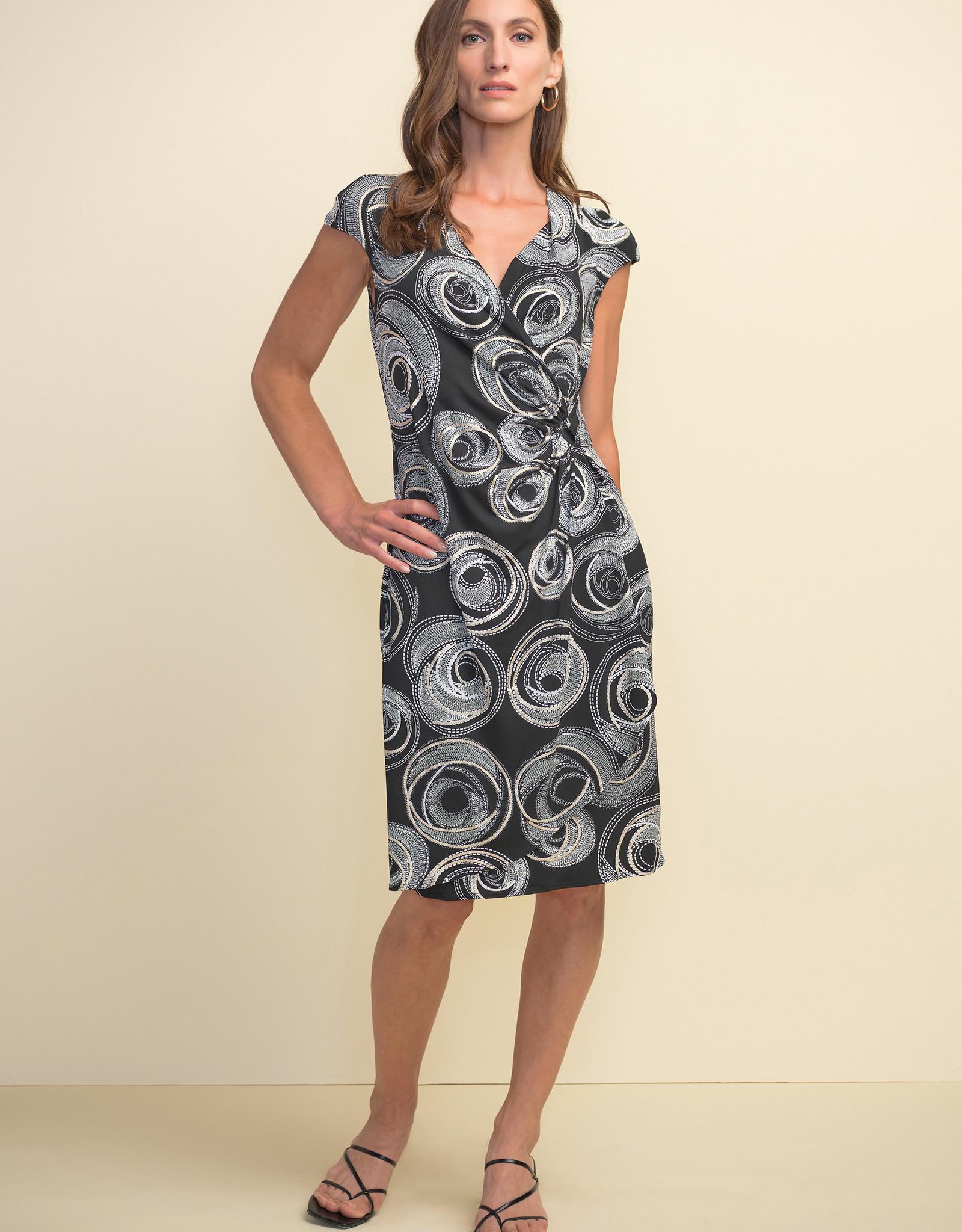Joseph Ribkoff Joseph Ribkoff 211245 Faux Wrap Dress with Cap Sleeves