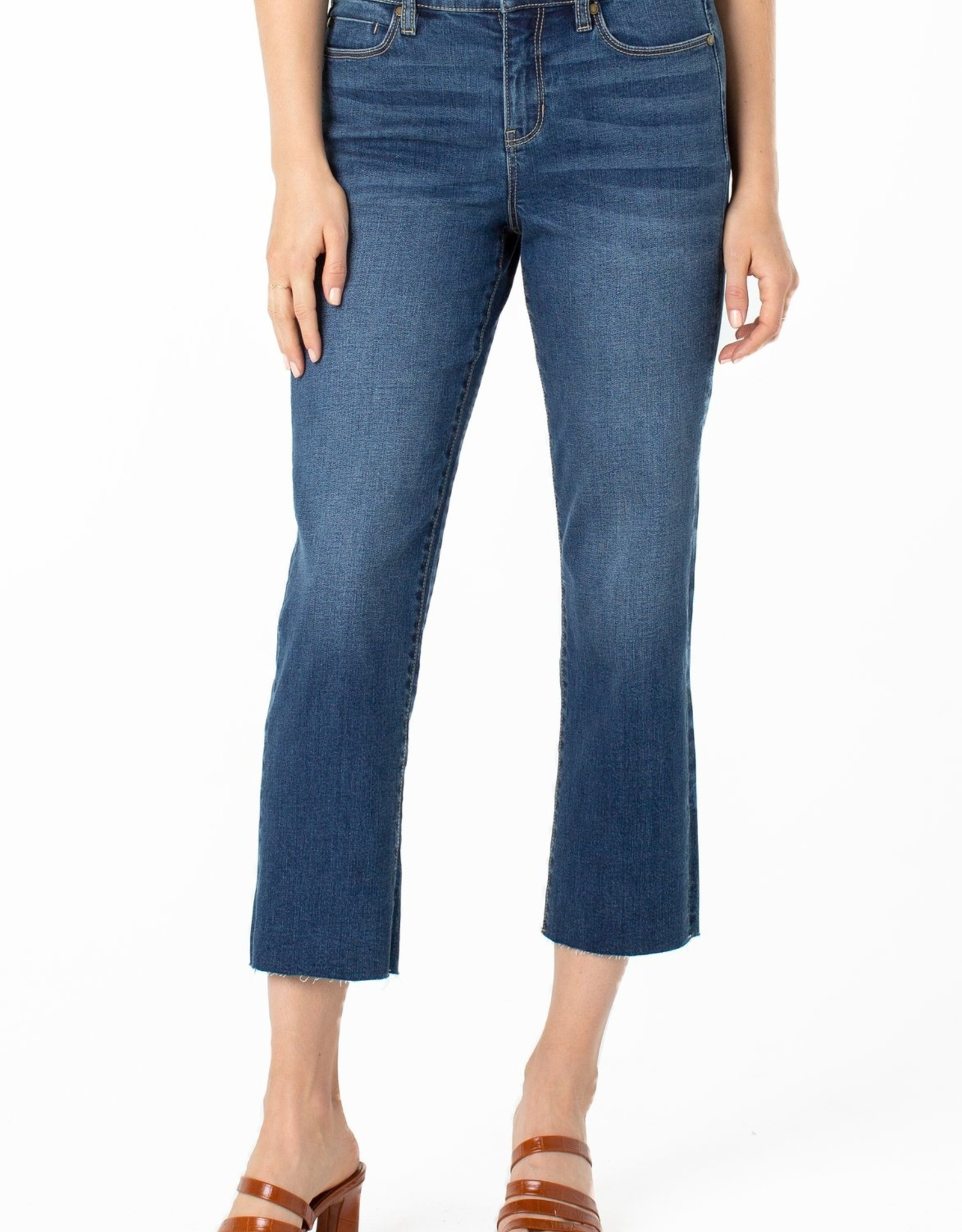 """Liverpool Liverpool LM7177E7 100% Sustainable Crop Straight Fray Hem Jean 26"""""""