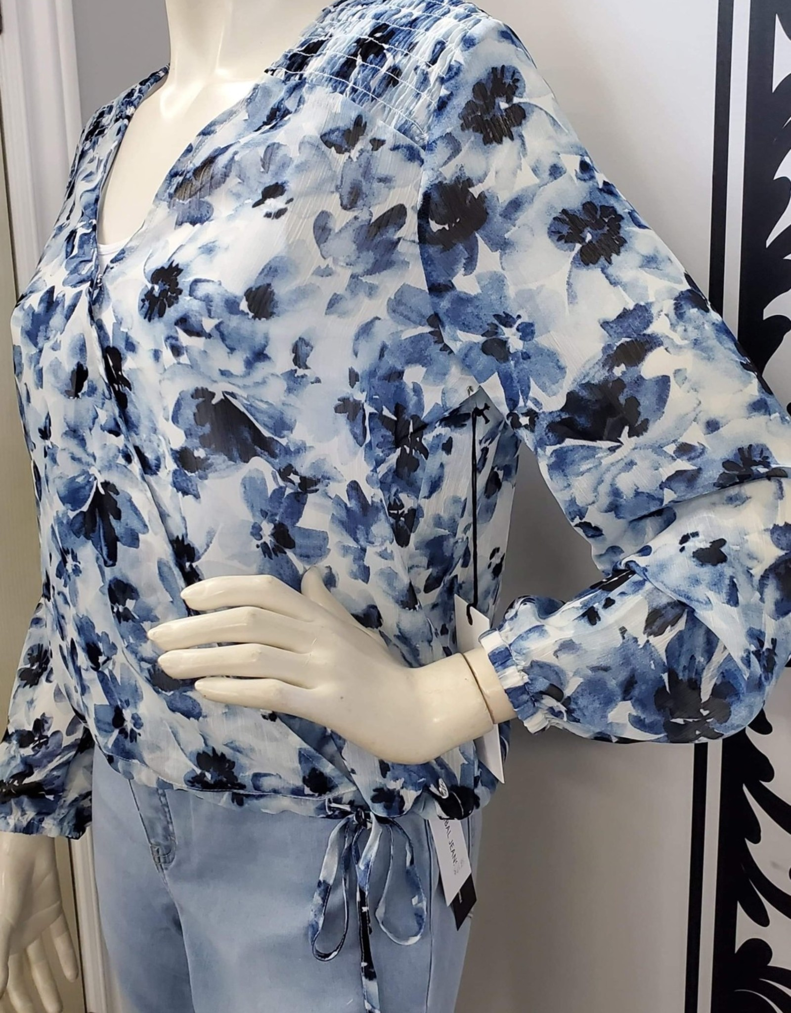 Point Zero Point Zero 8654016 Floral Blouse with Cross Over Front