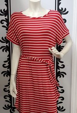 ISCA Striped Short Sleeve Jersey Dress with Belt